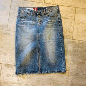 Guess denim pencil skirt knee length